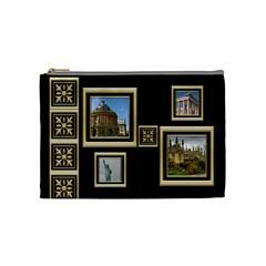 My Black And Gold Cosmetic Bag (medium) By Deborah   Cosmetic Bag (medium)   Ybs87nvt22ix   Www Artscow Com Front