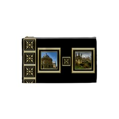 My Black And Gold Cosmetic Bag (small) By Deborah   Cosmetic Bag (small)   Iif94r7ltxrx   Www Artscow Com Front
