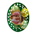 Green Christmas filigree Oval Ornament (2 sided) - Oval Filigree Ornament (Two Sides)