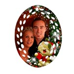 sing Merry Christmas Filigree Oval Ornament(2 sided) - Oval Filigree Ornament (Two Sides)