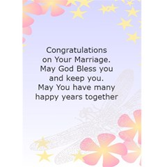 Congratulation On Your Wedding By Kim Blair   Greeting Card 5  X 7    U0vbhe4dxien   Www Artscow Com Back Inside