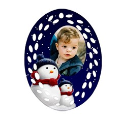 Snowmen Filigree Oval Ornament (2 Sided) By Deborah   Oval Filigree Ornament (two Sides)   4woiafit29cc   Www Artscow Com Front