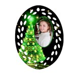 Green Christmas Tree Filigee Ornament (2 sided) - Oval Filigree Ornament (Two Sides)