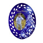Christmas Filigree Ornament 2 (2 sided) - Oval Filigree Ornament (Two Sides)