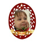 Christmas Filigree Oval Ornament 1 (2 sided) - Oval Filigree Ornament (Two Sides)