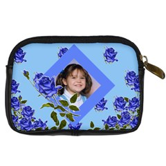 Blue Floral Camera Case 2 Sides By Kim Blair   Digital Camera Leather Case   P4g8cltxc1gp   Www Artscow Com Back