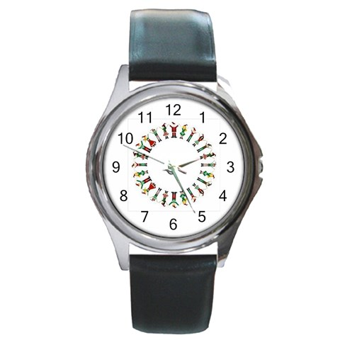 Happy People  By Divad Brown   Round Metal Watch   O5qqszay549m   Www Artscow Com Front