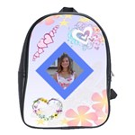 hearts and flowers book bag - School Bag (Large)