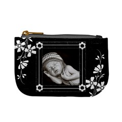 Black And White Mini Coin Purse By Lil    Mini Coin Purse   0glsl1fkjgxa   Www Artscow Com Front