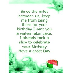 Watermelon Cake Birthday Card by Kim Blair Back Inside
