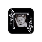 Black and White Square Rubber Coaster - Rubber Coaster (Square)