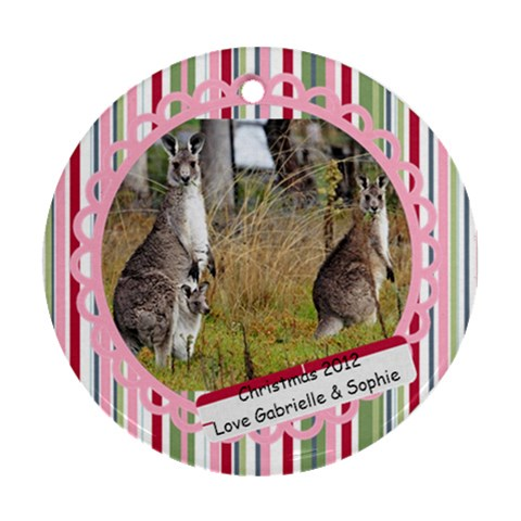 Kangaraoo By Gabrielle Grant   Ornament (round)   Gvjde83jih3r   Www Artscow Com Front