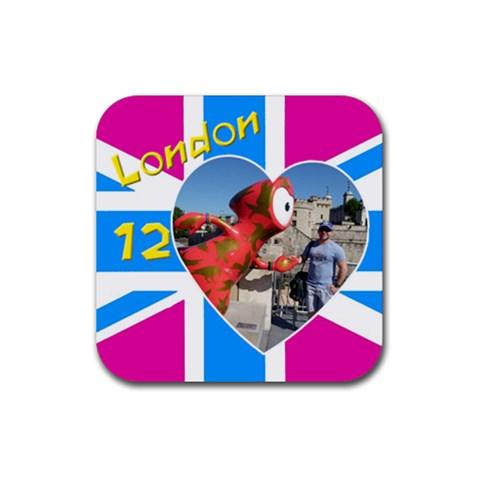 London 12 Coaster By Deborah   Rubber Coaster (square)   G8uwnd2awvls   Www Artscow Com Front
