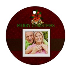 Christmas By May   Round Ornament (two Sides)   Kzif7ksiolq3   Www Artscow Com Front
