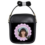Black with Pink Lace Girls sling Bag