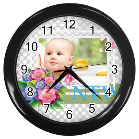 Baby By Joely   Wall Clock (black)   1gropo1bowrz   Www Artscow Com Front