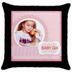 baby girl - Throw Pillow Case (Black)