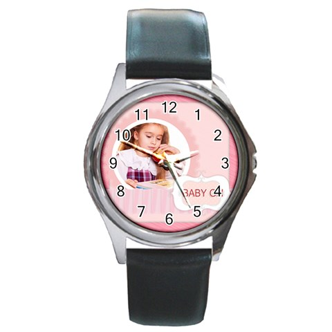Baby Girl By Joely   Round Metal Watch   Tim8i9iftrzs   Www Artscow Com Front