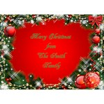 Merry Christmas 3D heart Card - Heart Bottom 3D Greeting Card (7x5)