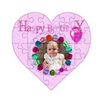 Happy birthday heart - Acrylic Heart Jigsaw Puzzle  (4  x 4 )