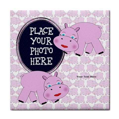 Pink Hippo Tile Coaster By Chere s Creations   Tile Coaster   Wpihp9tr8zwv   Www Artscow Com Front