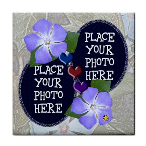 Flowers And Hearts Tile Coaster By Chere s Creations   Tile Coaster   Vcsmn7numr2y   Www Artscow Com Front
