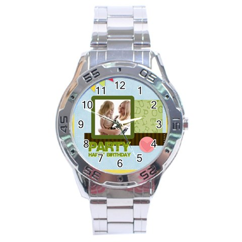 Birthday Party  By Joely   Stainless Steel Analogue Watch   772m8y6dcsuo   Www Artscow Com Front