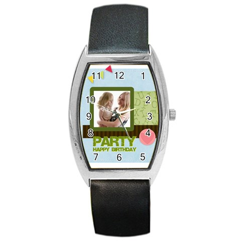 Birthday Party  By Joely   Barrel Style Metal Watch   Shcwy0gtsmog   Www Artscow Com Front
