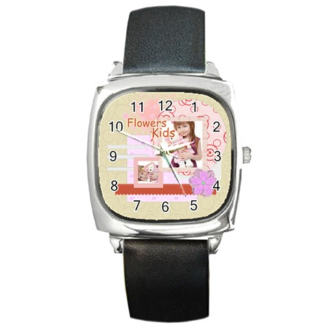 Flower By Jo Jo   Square Metal Watch   5gxwred48lnd   Www Artscow Com Front
