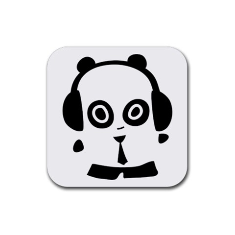 Headphones Panda By Joyce   Rubber Square Coaster (4 Pack)   Jt9ra0y7gk45   Www Artscow Com Front