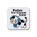 Polar Ice-Cream Cow Coaster - Rubber Square Coaster (4 pack)