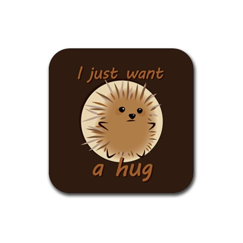 Just A Hug Coaster By Joyce   Rubber Square Coaster (4 Pack)   Uwuq36wght2k   Www Artscow Com Front