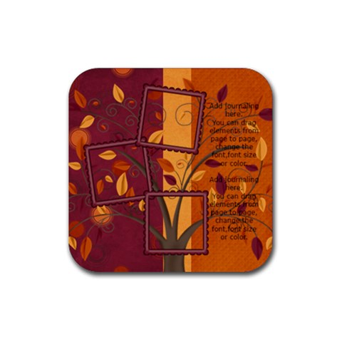 Autumn Blessings Tree Coaster By Bitsoscrap   Rubber Coaster (square)   7dyu34qomenl   Www Artscow Com Front