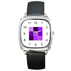Purple Shades Black Leather Watch (square) by PurpleVIP