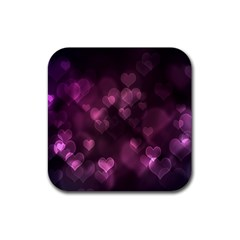Purple Bokeh 4 Pack Rubber Drinks Coaster (Square)