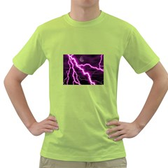 Purple Lightning Green Mens  T Shirt