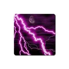 Purple Lightning Large Sticker Magnet (square)