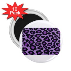 Purple Leopard Print 10 Pack Regular Magnet (round) by PurpleVIP
