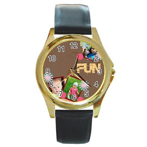 Fun By Jacob   Round Gold Metal Watch   18w54w4bjeyg   Www Artscow Com Front