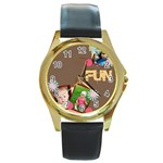 fun - Round Gold Metal Watch