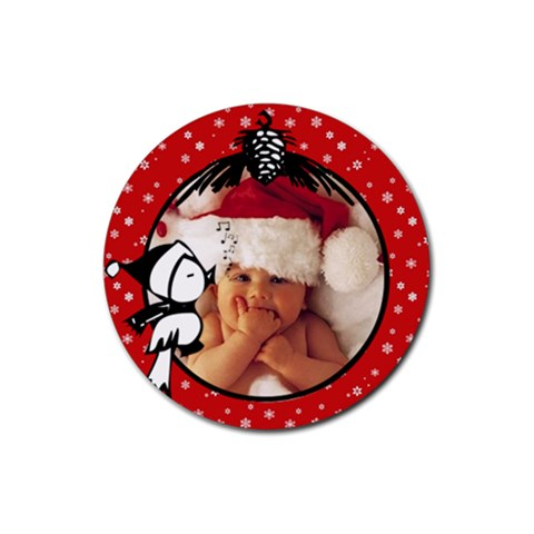 Red Christmas   Rubber Coaster By Carmensita   Rubber Coaster (round)   E2pnlowejxfy   Www Artscow Com Front