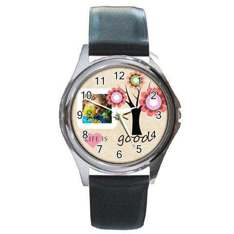 Life Is Good By Jacob   Round Metal Watch   Yxe1xqyelpfc   Www Artscow Com Front