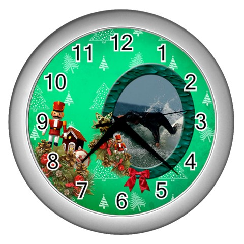 Simplychristmas Vol1   Wall Clock (silver)  By Picklestar Scraps   Wall Clock (silver)   L9s9ljapcsvn   Www Artscow Com Front