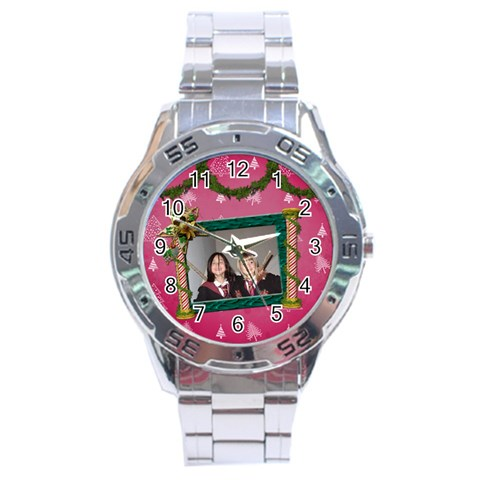 Simplychristmas Vol1   Analogue Men By Picklestar Scraps   Stainless Steel Analogue Watch   B78uy67c2tvw   Www Artscow Com Front