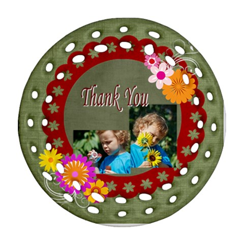 Thank You By Jacob   Ornament (round Filigree)   Z146tvri760q   Www Artscow Com Front