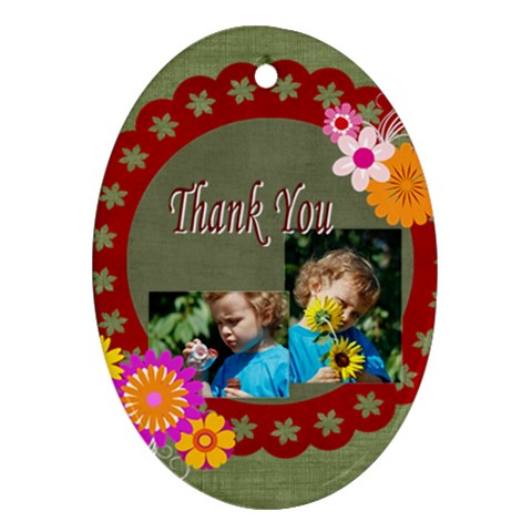 Thank You By Jacob   Ornament (oval)   Iu6gbwtqm0fg   Www Artscow Com Front