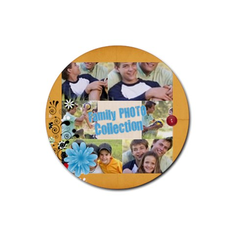 Family By Joely   Rubber Coaster (round)   9fol1g3vee1v   Www Artscow Com Front