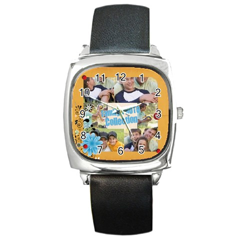 Family By Joely   Square Metal Watch   Tf48uwdd2rx0   Www Artscow Com Front