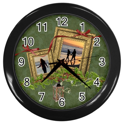Shabbychristmas Vol1   Wall Clock(black)  By Picklestar Scraps   Wall Clock (black)   Kxnmksgho07x   Www Artscow Com Front