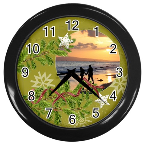 Shabbychristmas Vol1   Wall Clock(black)  By Picklestar Scraps   Wall Clock (black)   Oypl3buau0u3   Www Artscow Com Front